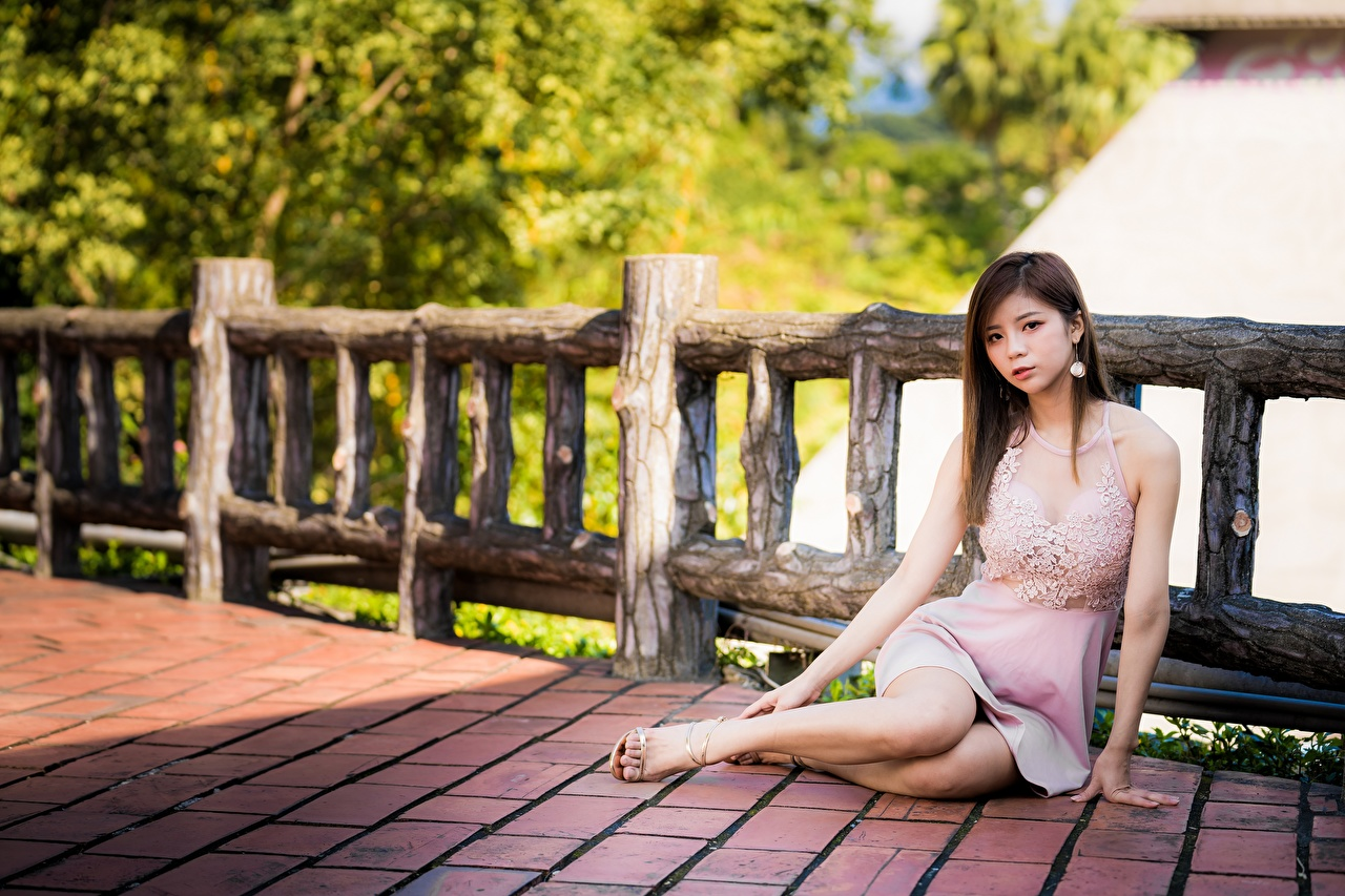 Picture Brown haired Girls Legs Fence Asiatic sit Hands gown female young woman Asian Sitting frock Dress
