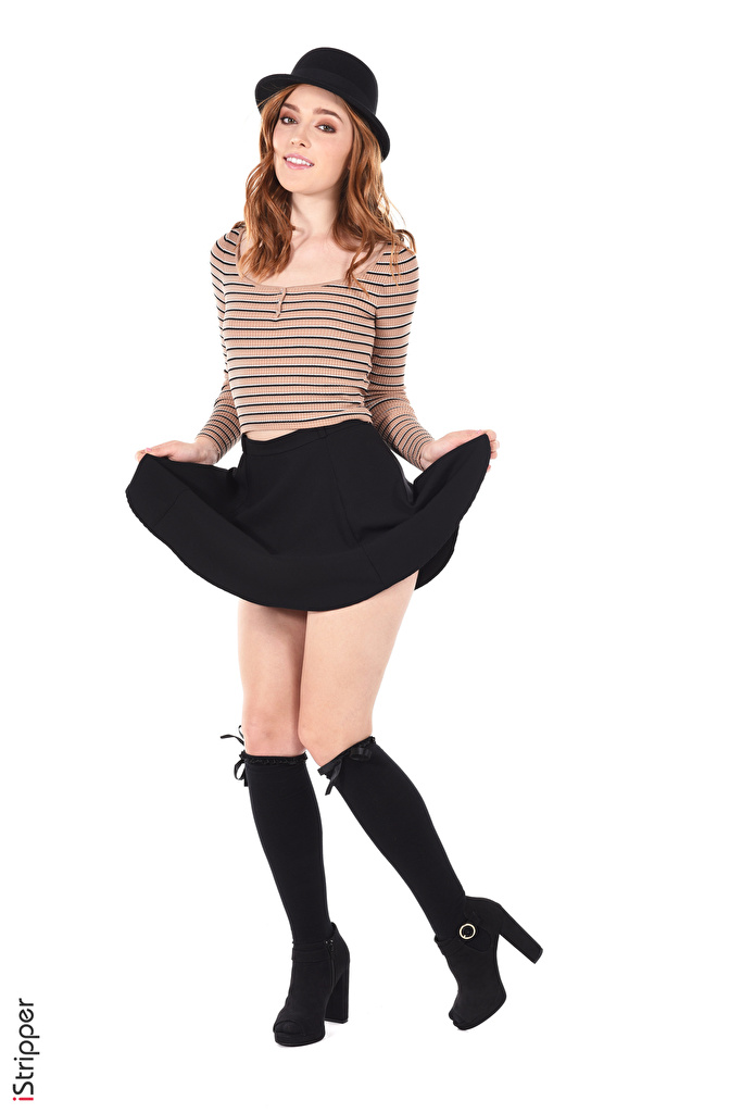 Pictures Jia Lissa Skirt Knee highs Brown haired iStripper posing Hat young woman Legs Hands White background  for Mobile phone Pose Girls female