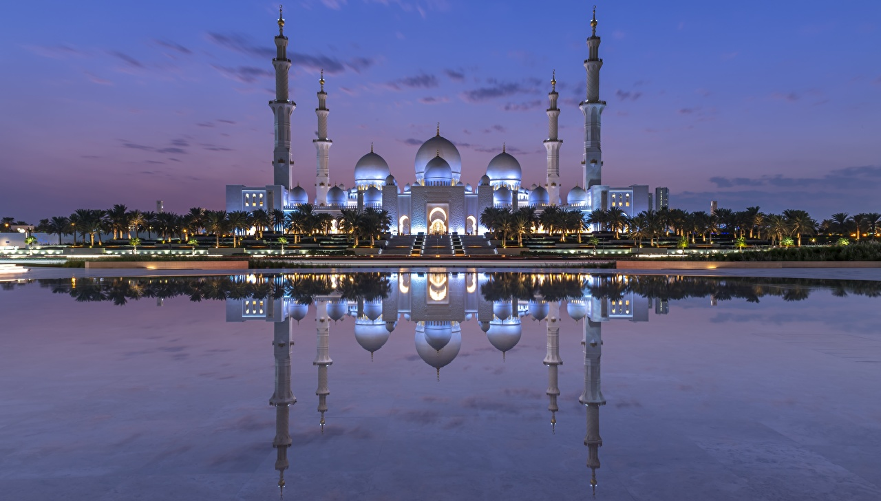Image Mosque Emirates UAE Sheikh Zayed Mosque, Abu Dhabi reflected Evening Cities Reflection