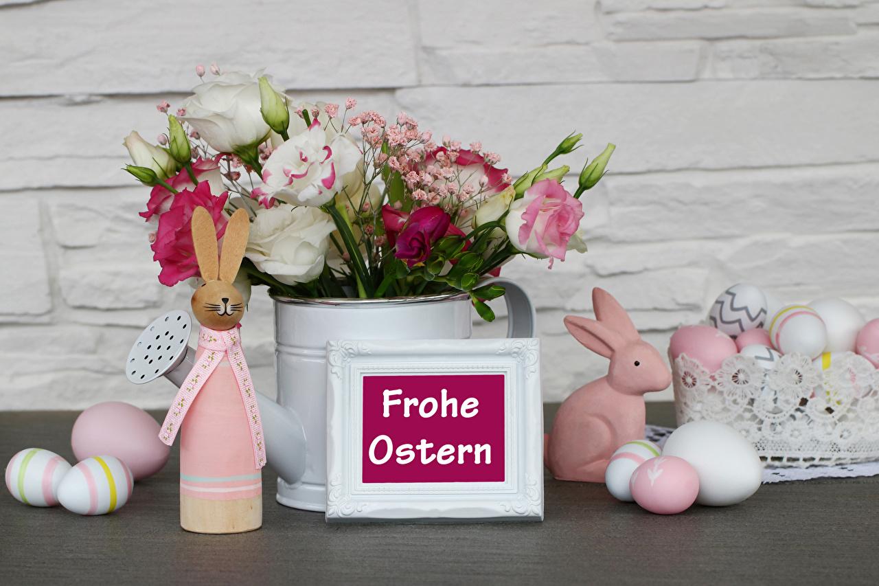 Bakgrunnsbilder Påske Kaniner Tysk Egg rosa blomst Eustoma Skrevet ord nellikslekta Mat kanin tyske egg Roser tekst Nelliker Blomster