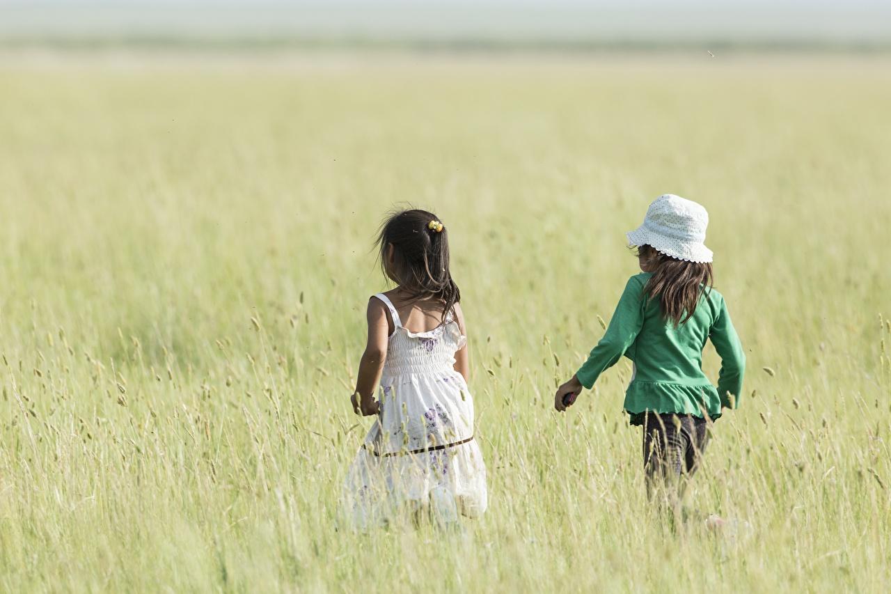 Wallpaper Little girls Bokeh child Two Hat Stroll Fields Back view blurred background Children 2 walk Walking