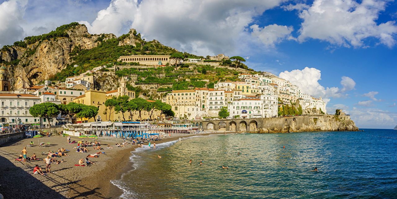 Pictures Amalfi Italy Sea Crag Coast Trees Houses Cities Rock Cliff Building