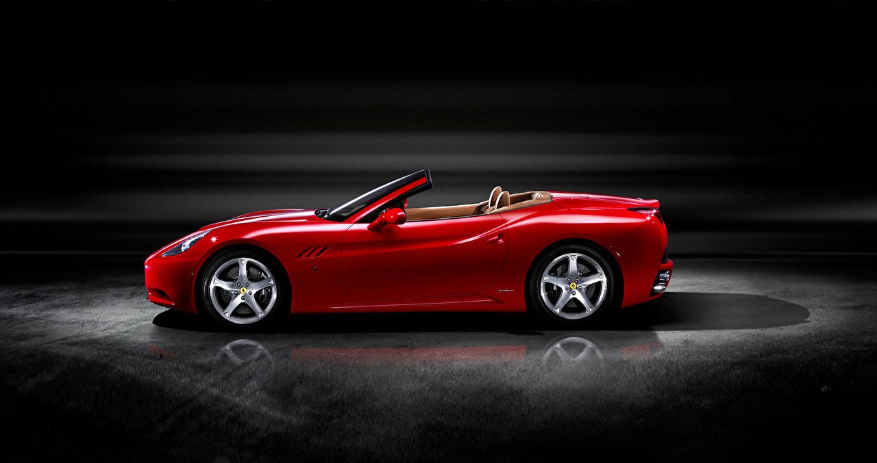 Photos Ferrari Roadster Red auto Side Metallic Cars automobile