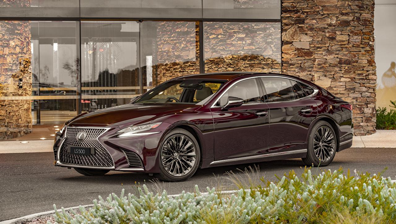 Fotos Lexus 2019-20 LS 500 Inspiration Series Bordeauxrot Autos Metallisch dunkelrote burgunder Farbe auto automobil