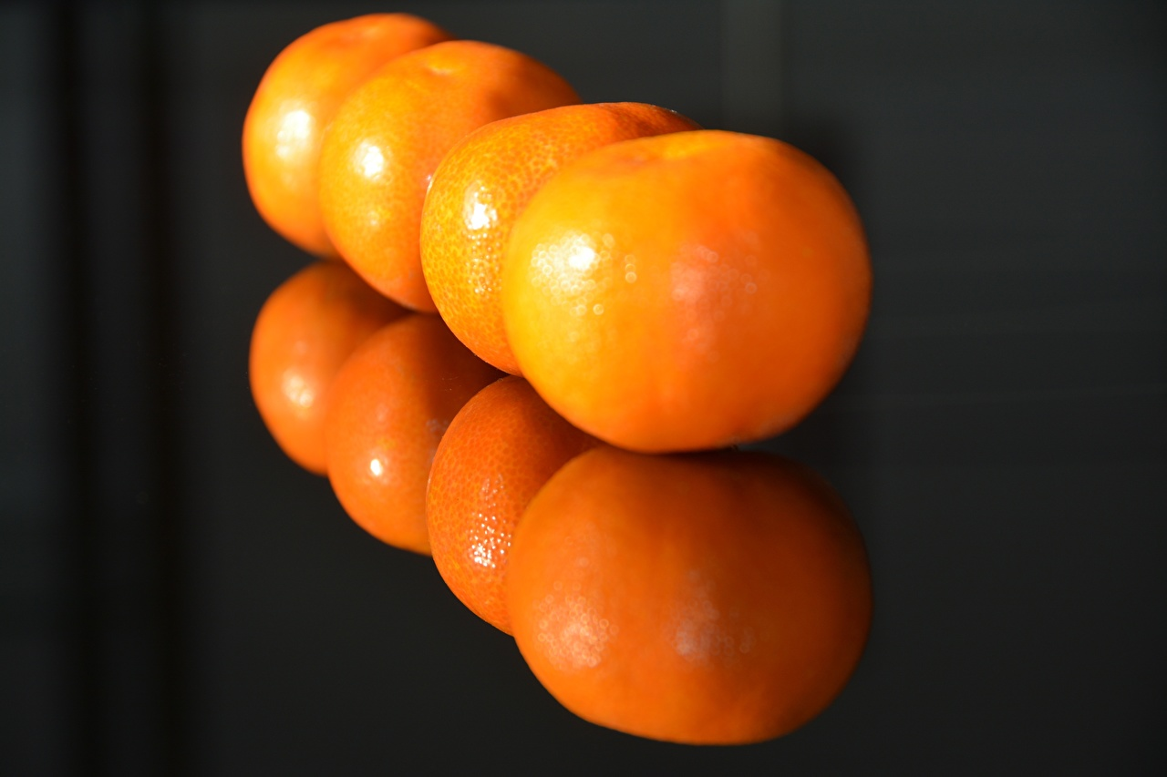 Photo Orange Mandarine Reflection Food Closeup