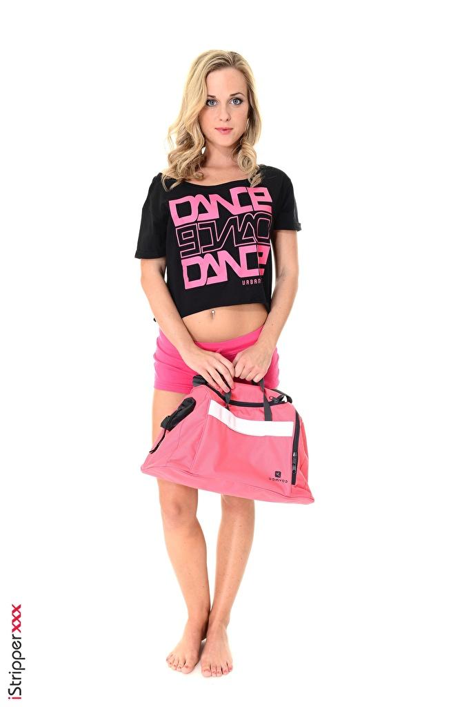 Fotos von Vinna Reed Blond Mädchen iStripper Mädchens Bein Hand Shorts Handtasche Weißer hintergrund  für Handy Blondine junge frau junge Frauen