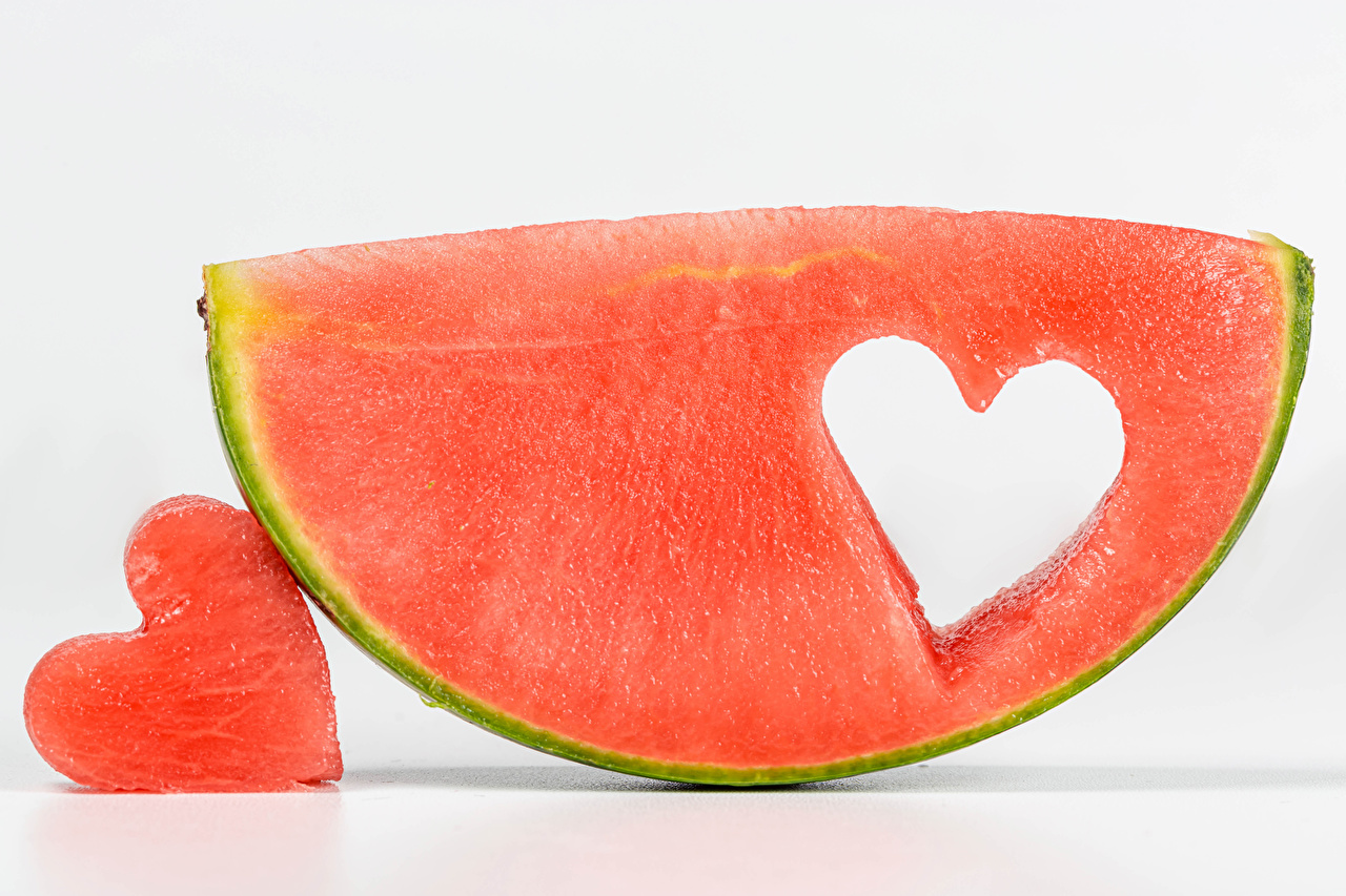 Desktop Wallpapers Heart Piece Watermelons Food White background pieces