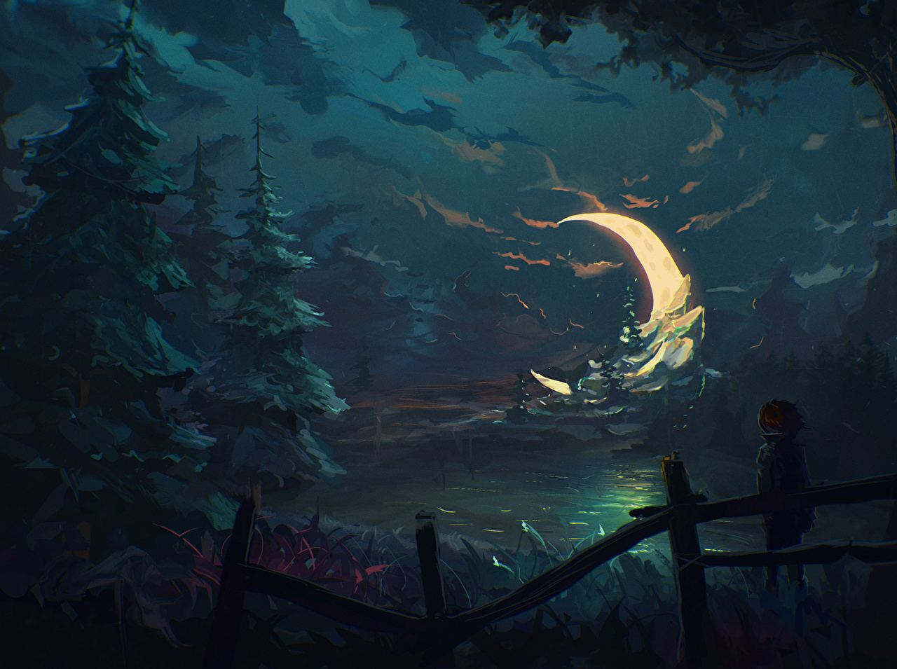 Wallpaper Spruce Nature Fantasy Sky Moon Crescent ...