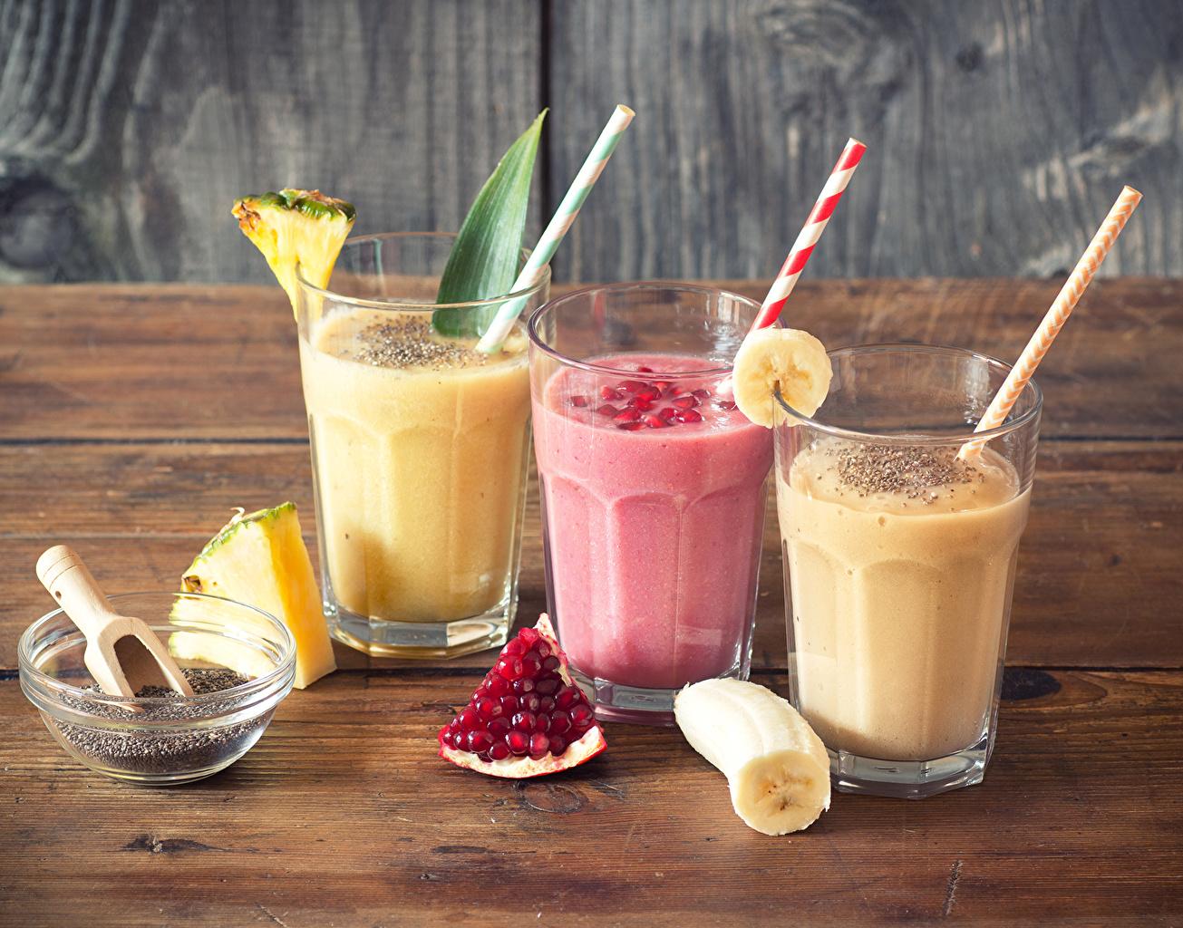 Hintergrundbilder Ananas Bananen Trinkglas Granatapfel Drei 3 Cocktail Lebensmittel Getränke