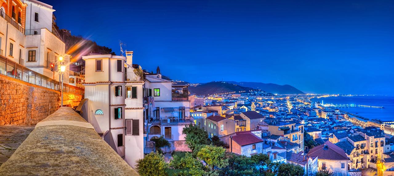 Photo Cities Italy Amalfi Coast Gulf of Salerno Night Building Houses night time