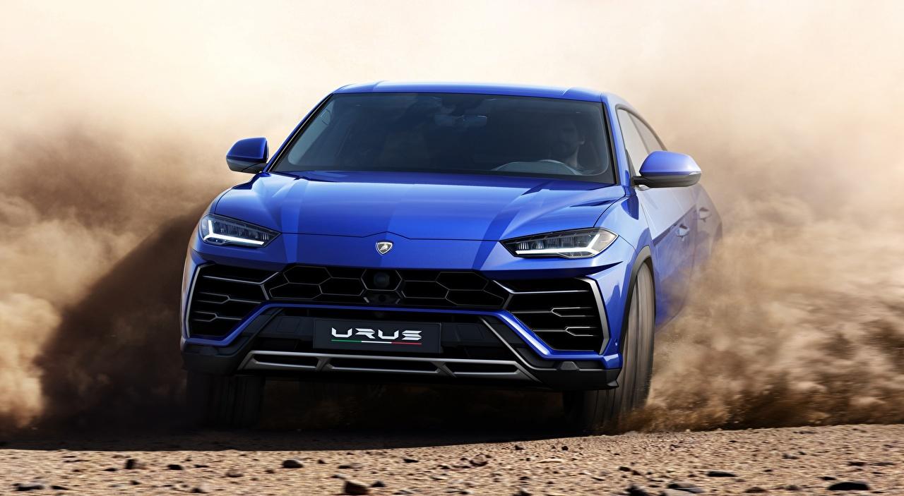 Fotos Lamborghini Softroader Urus, Off-Road, 2018 Blau Bewegung Vorne Autos Crossover fährt fahren fahrendes Geschwindigkeit auto automobil