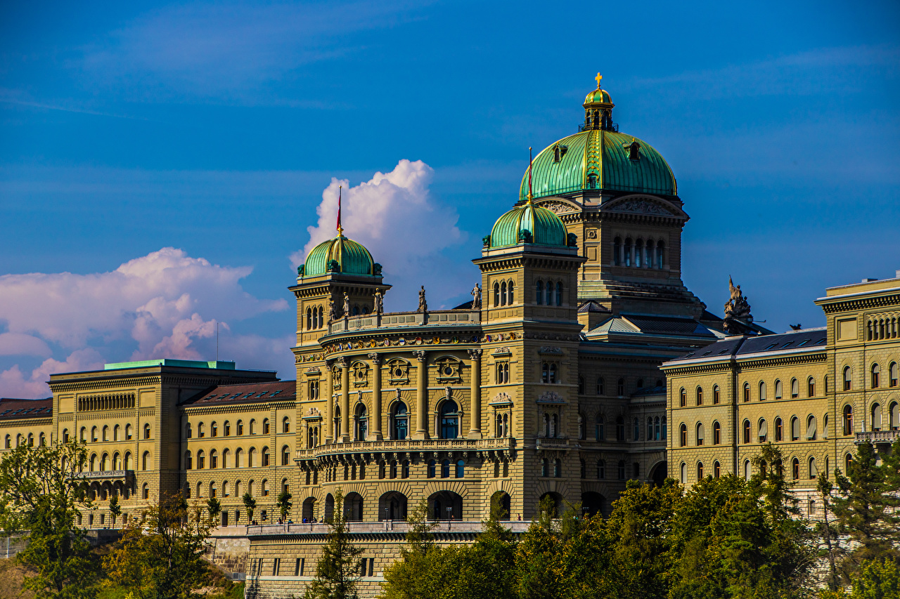 Wallpaper Bern Switzerland Federal Palace Houses Cities Building