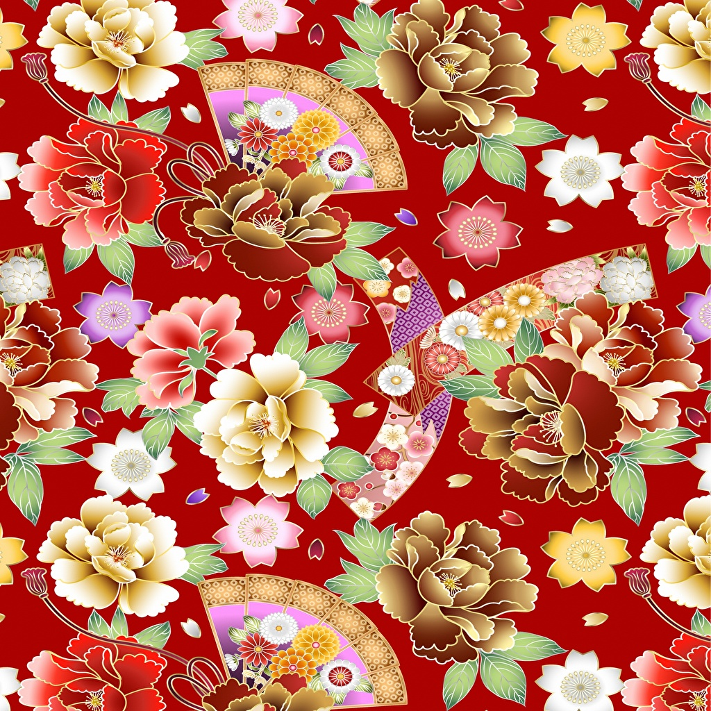 Photos Texture Japanese style Flowers Red background flower