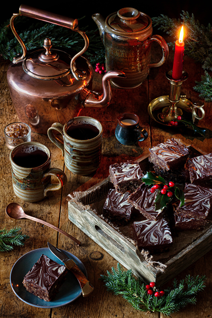 Photo Christmas Coffee Kettle Mug Food Candles Branches Still-life Little cakes  for Mobile phone New year
