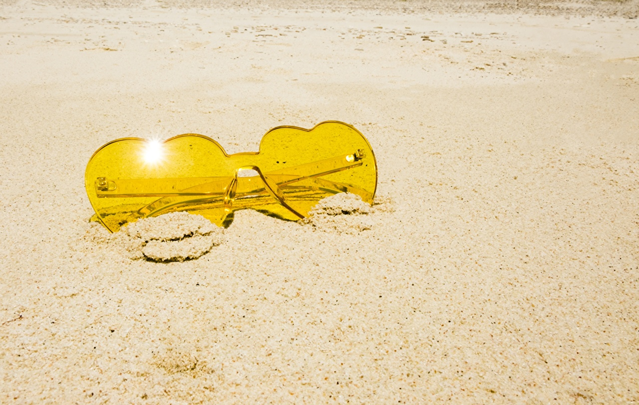 Photos Yellow Sand Glasses Closeup eyeglasses