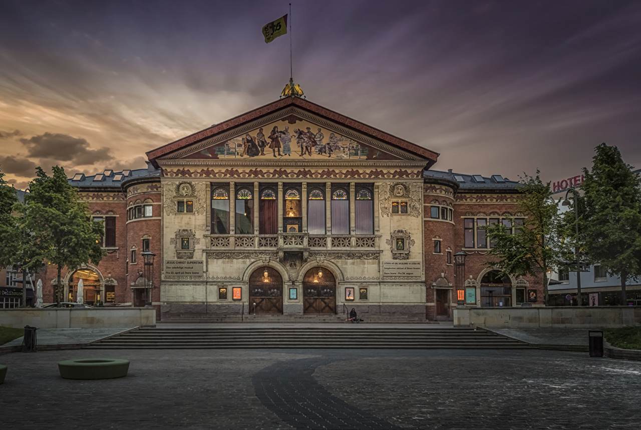 Images Denmark Theatre in Aarhus Evening Houses Cities Building