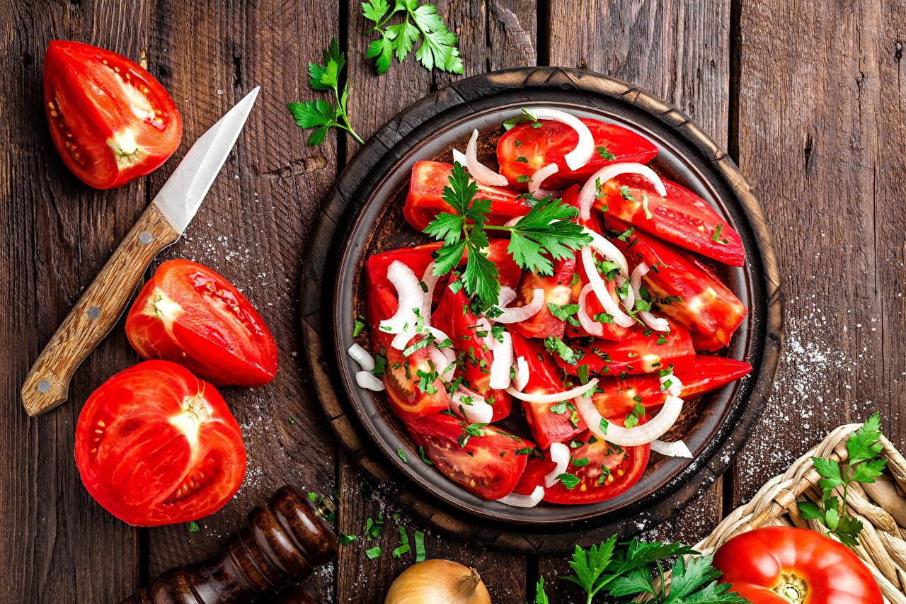 Photo Tomatoes Salt Food Salads Vegetables Wood planks Boards