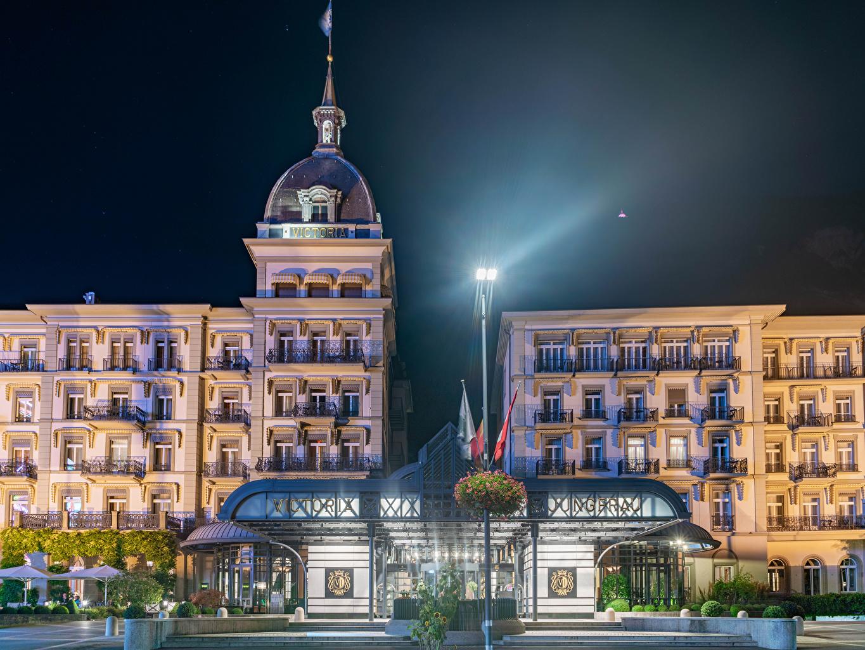 Images Switzerland Interlaken, Bern Hotel night time Street lights Houses Cities Night Building