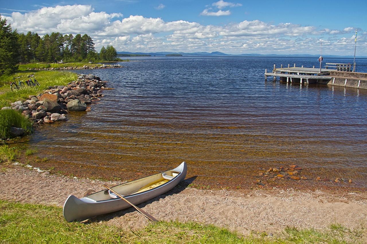 、海岸、スウェーデン、ボート、水、Dalarna、、自然、