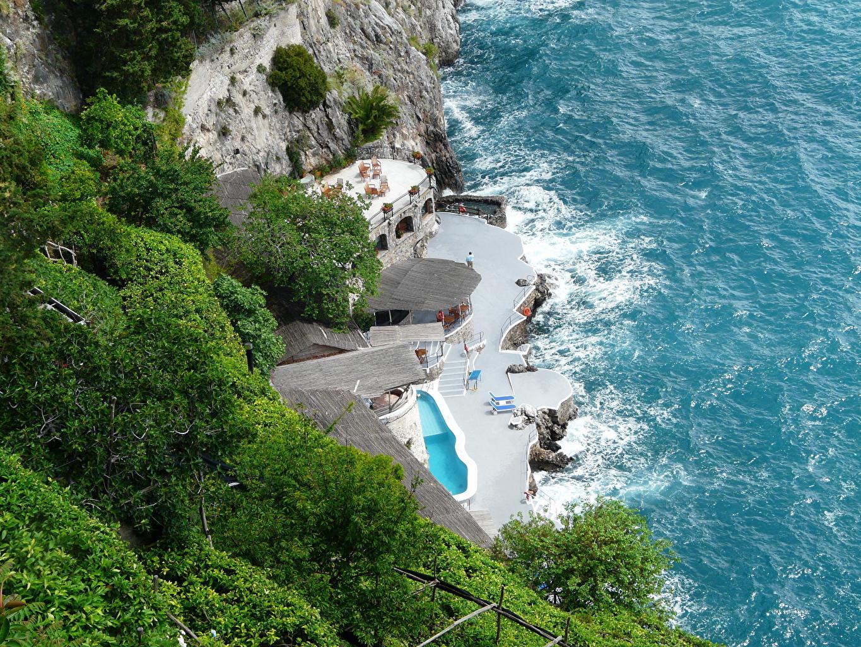 、海岸、イタリア、海、アマルフィ、上から、自然、