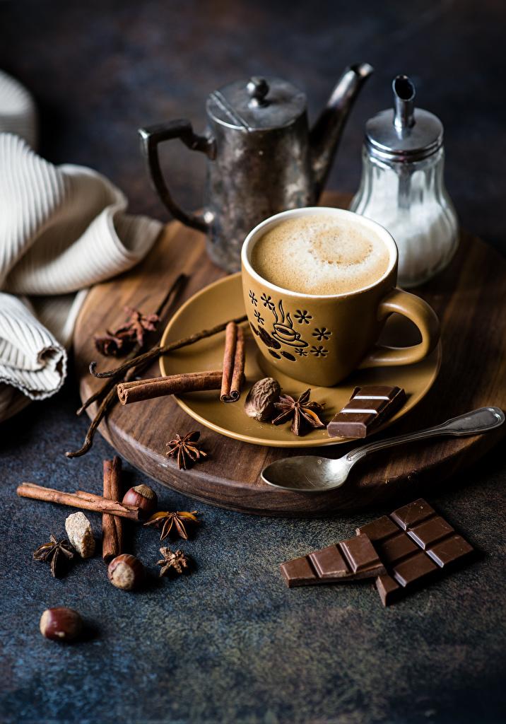 Fonds d'ecran Café Chocolat Cannelle Noix Anis étoilé Badianier Tasse  Nourriture télécharger photo