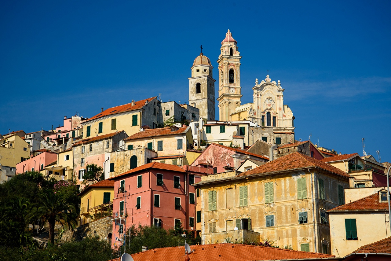 Desktop Wallpapers Church Italy towers Cervo Cities Building Tower Houses