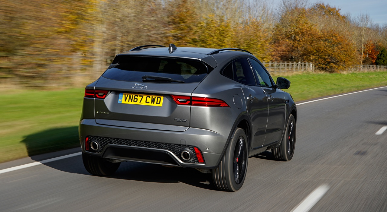Foto's Jaguar E-Pace P300, AWD R-Dynamic, UK-spec, 2017 Grijs bewegende Auto Asfalt Metallic Achteraanzicht grijze Beweging rijdende snelheid auto's automobiel