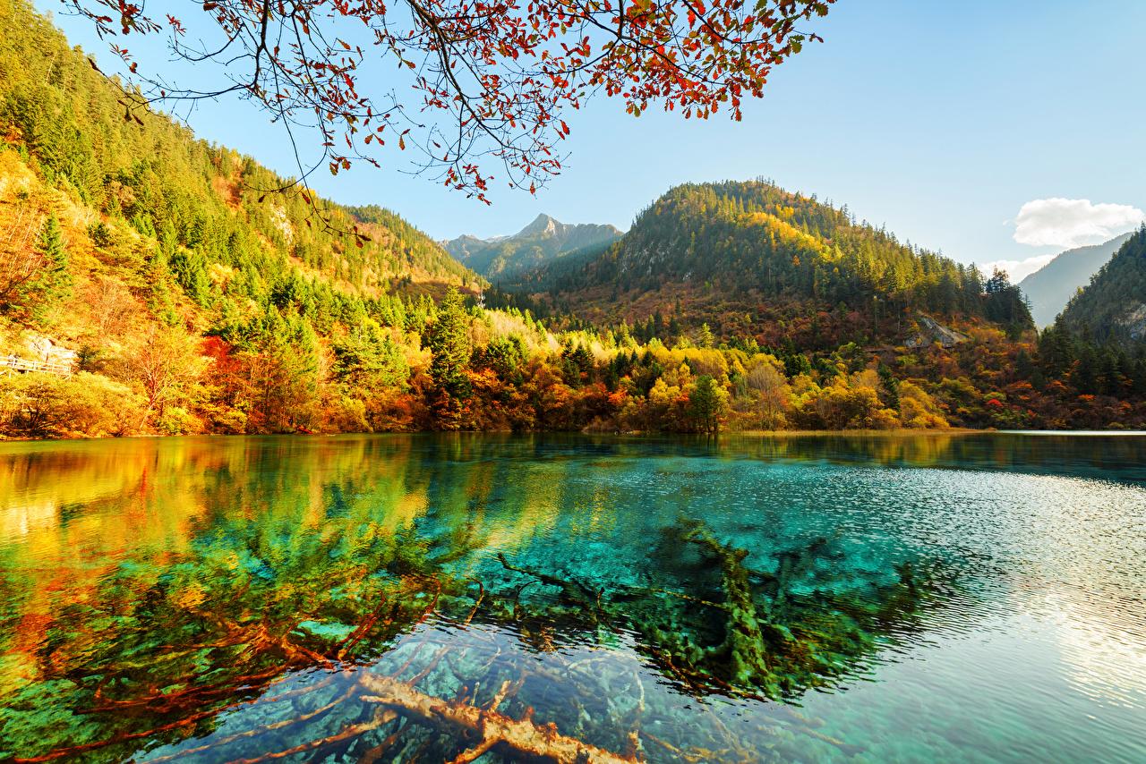 Fotos von Jiuzhaigou park China Natur Herbst Gebirge See Park Wälder Landschaftsfotografie Berg Wald Parks