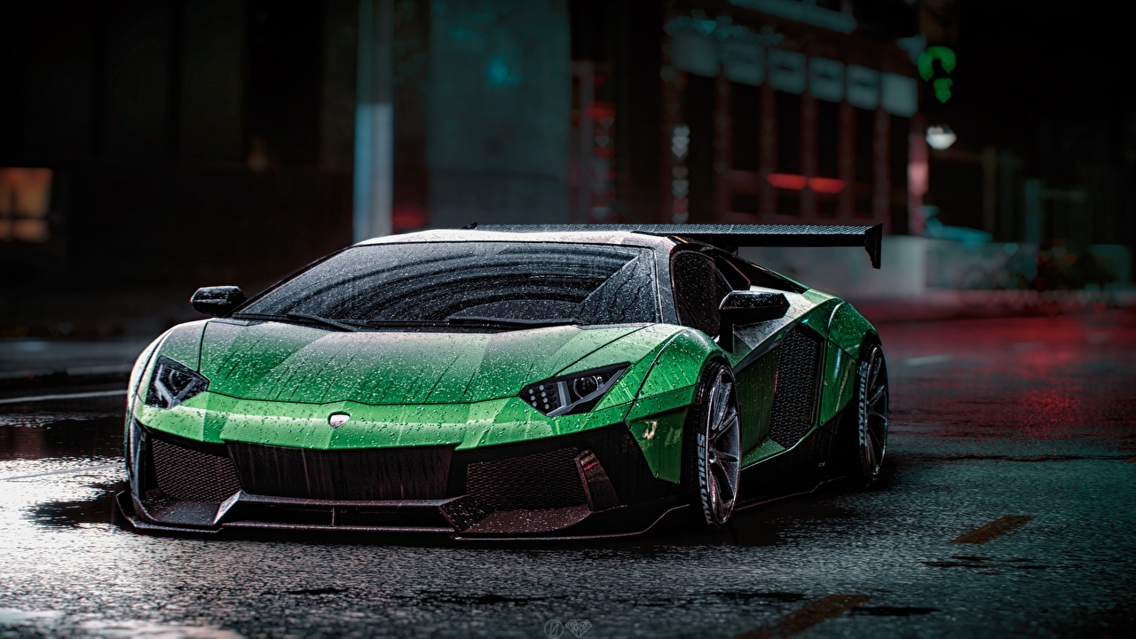 Picture Need for Speed Lamborghini Aventador Liberty Walk, 2015 game art Green Drops vdeo game Cars Games auto automobile