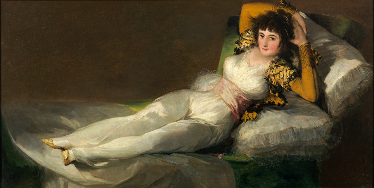 Images Brunette girl Francisco Goya, The Clothed Maja female Bed Pictorial art Girls young woman