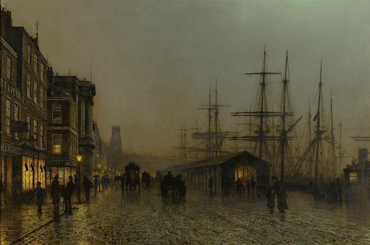 Bilder John Atkinson Grimshaw, Glasgow, Saturday Night Straße Nacht Gemälde Stadtstraße Malerei