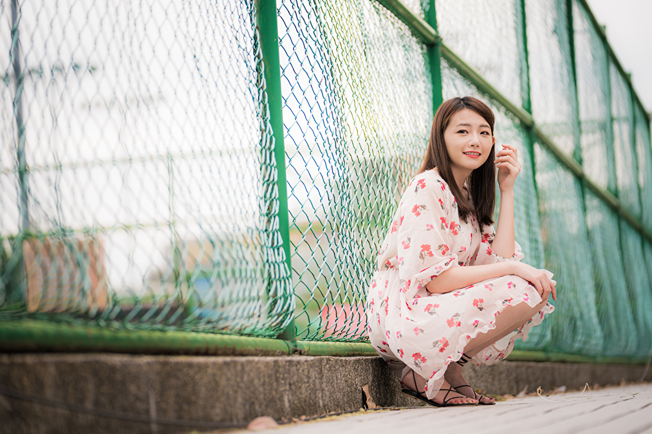 Wallpaper Girls Asian Fence sit Staring gown female young woman Asiatic Sitting Glance frock Dress
