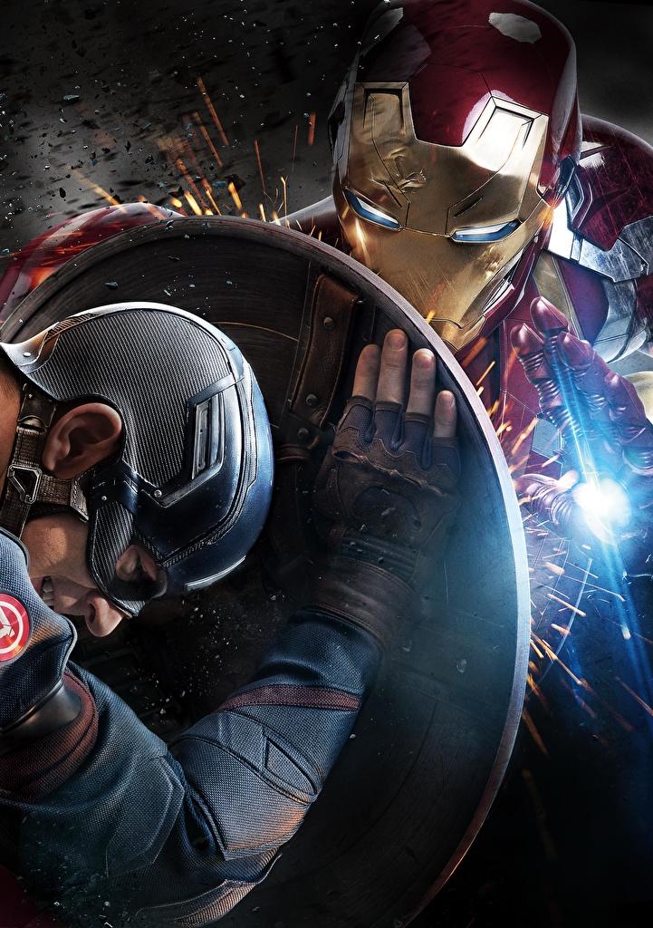 Photo Captain America: Civil War Shield Iron Man hero Captain America hero Steve Rogers Movies Celebrities  for Mobile phone film