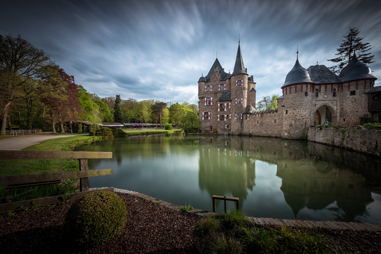 Images Germany towers Burg Satzvey Nature Castles Pond Reflection Tower castle reflected