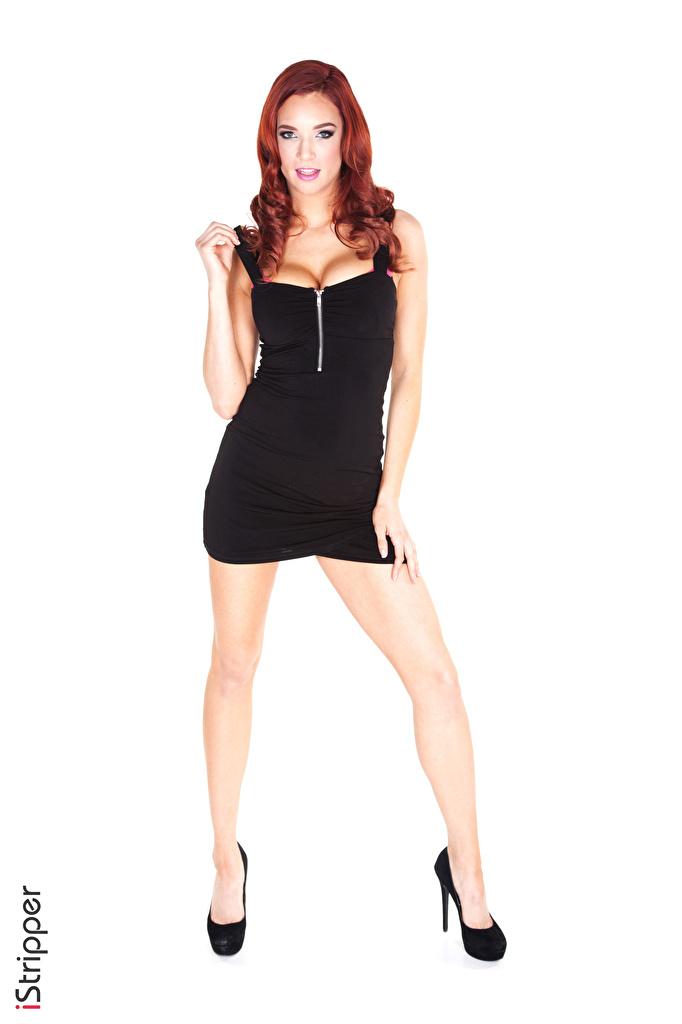 Foto Jayden Cole Rotschopf iStripper Mädchens Bein Hand Kleid Stöckelschuh  für Handy junge frau junge Frauen High Heels