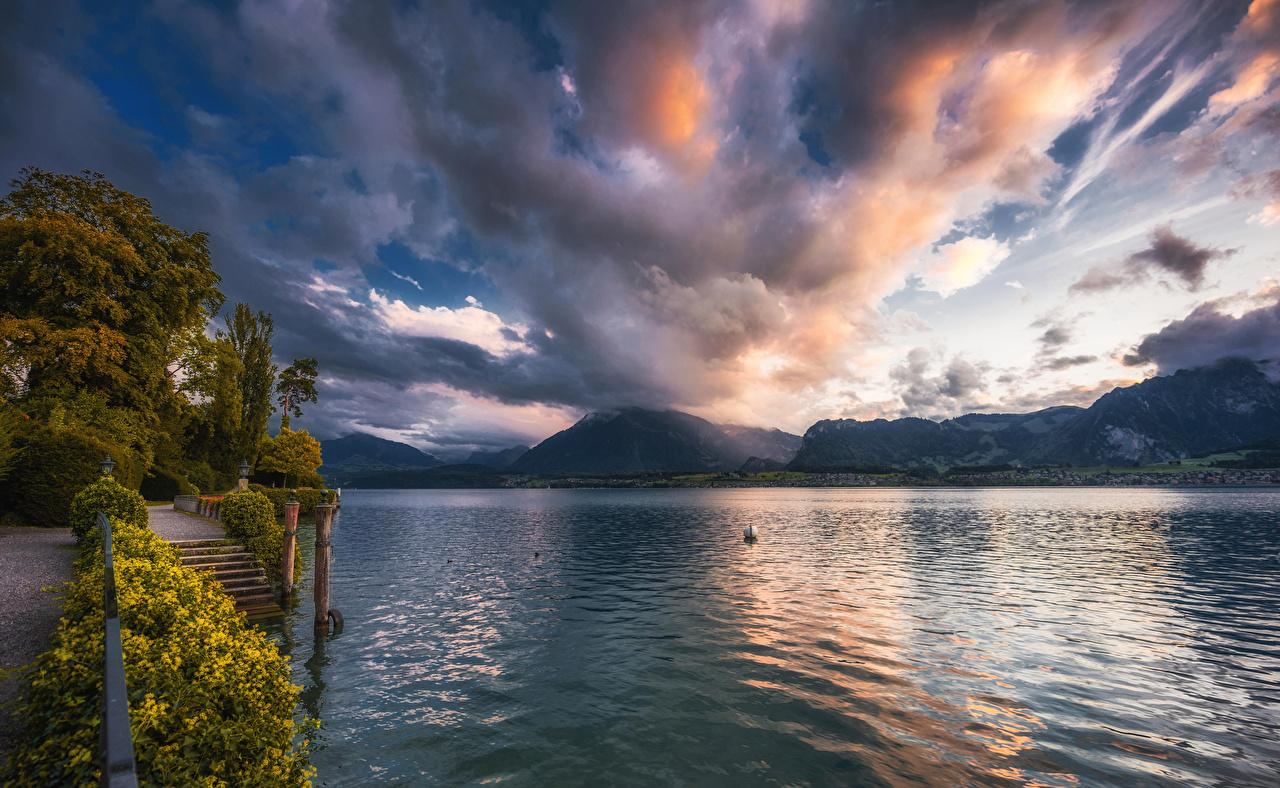 Photos Switzerland Lake Thun Nature Sky Evening Clouds
