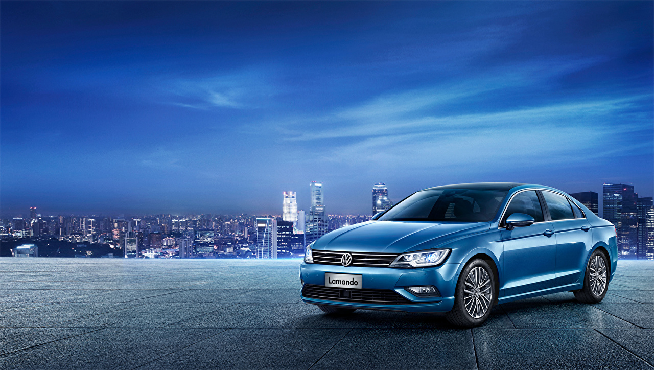 Pictures Volkswagen 2015, Lamando Sedan Blue auto Cars automobile