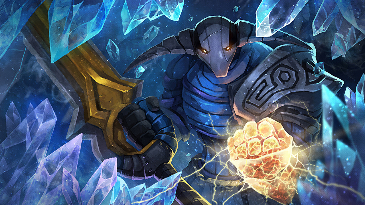 Desktop Wallpapers DOTA 2 Sven Swords Helmet Warriors Ice Fantasy vdeo game warrior Games