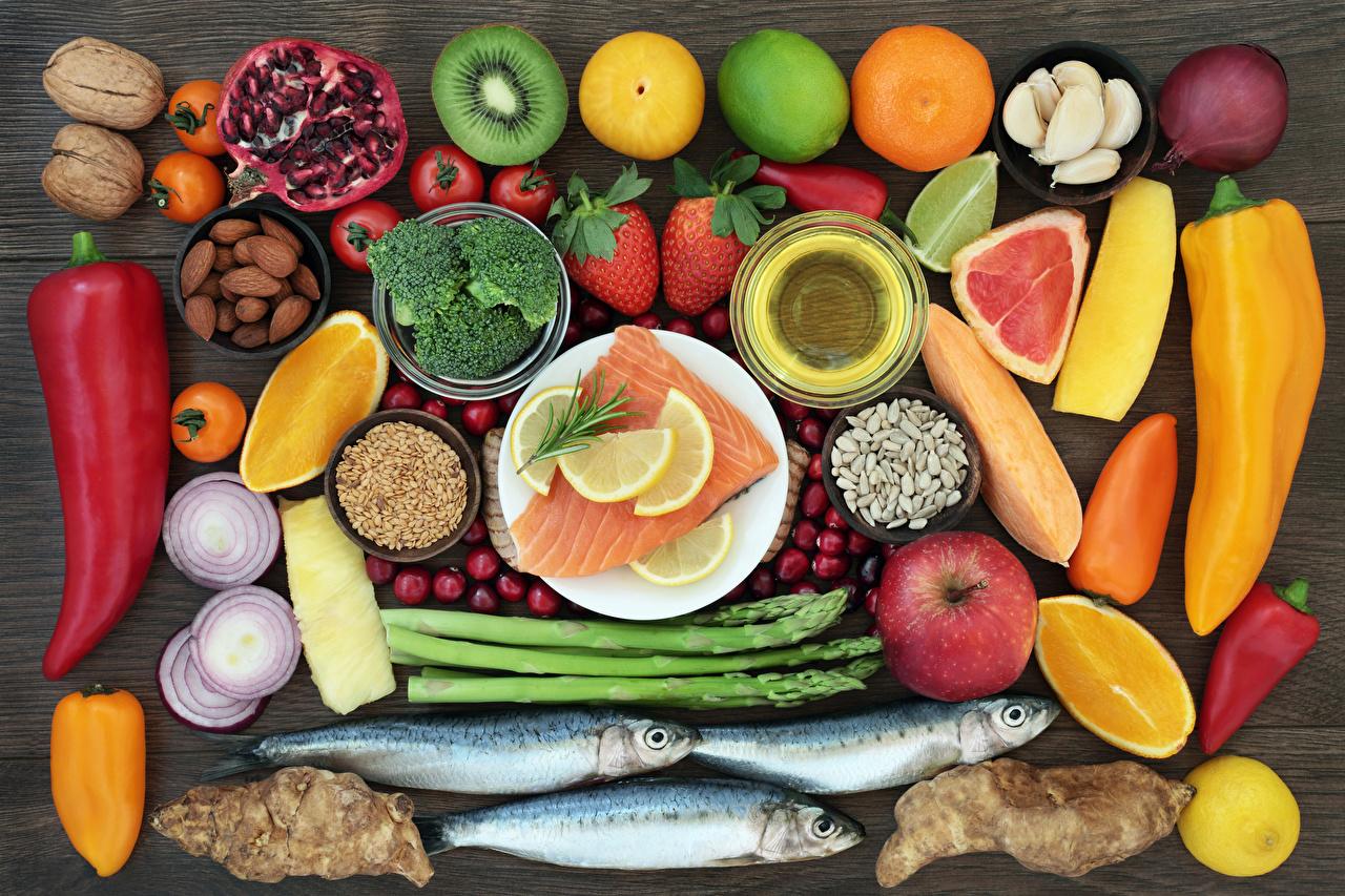 Desktop Wallpapers Fish - Food Food Fruit Vegetables Bell pepper Nuts Citrus