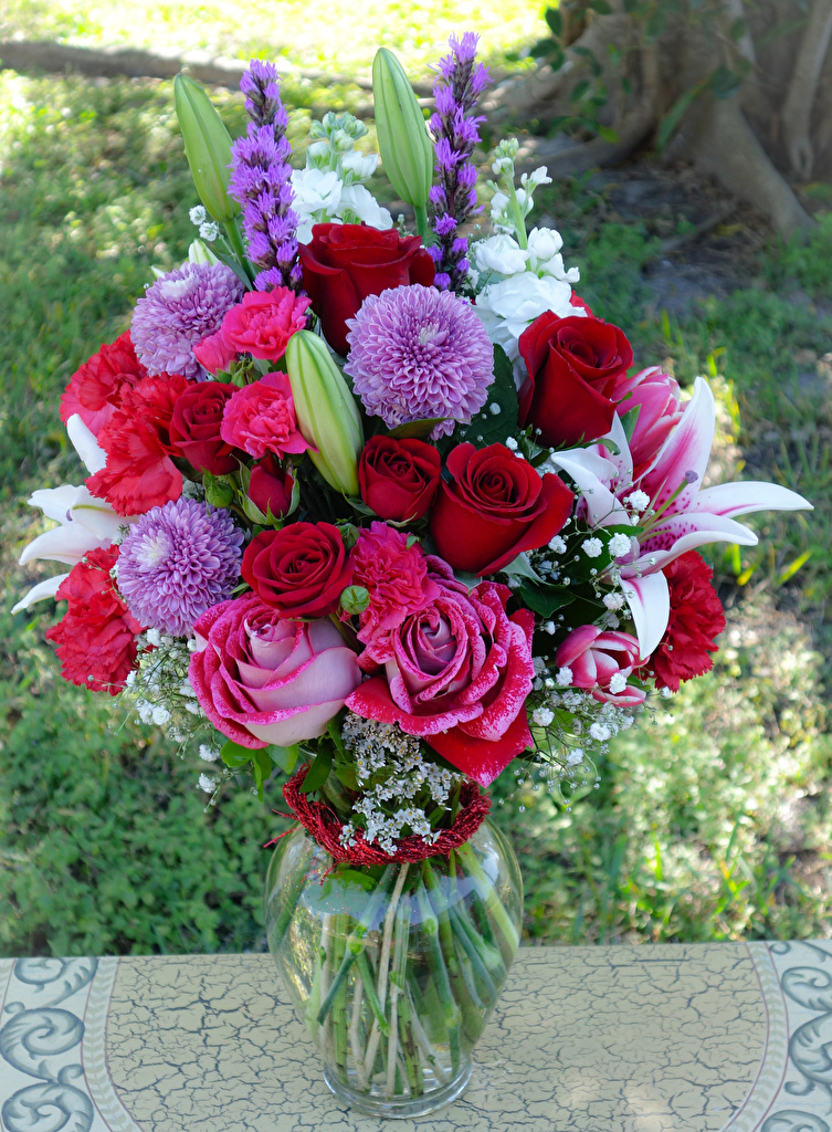 Wallpaper Bouquets Roses Lilies Dahlias Flowers Carnations Vase  for Mobile phone