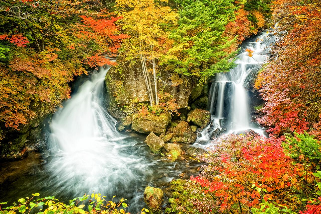 Sfondi del desktop Natura Autunno cascata Pietre Stagione Cascate