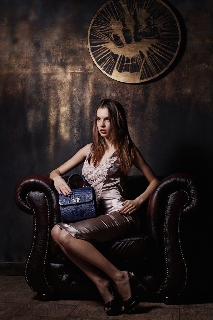 Picture Viacheslav Krivonos Model Alice Girls Handbag Sitting Armchair Dress Stilettos  for Mobile phone Modelling female young woman sit purse Wing chair gown frock high heels