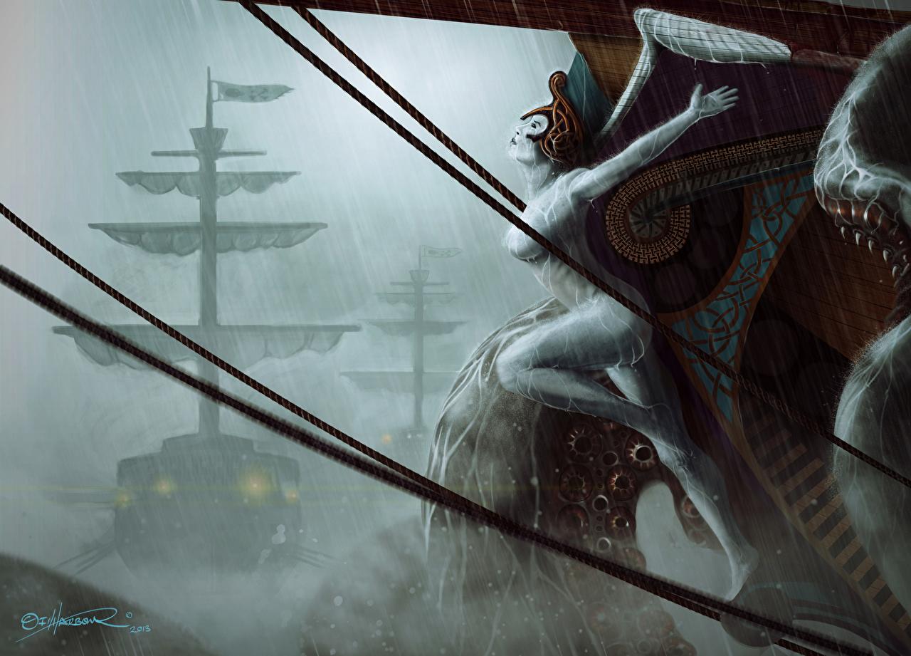 Images Monsters Kraken Fantasy ship Sailing monster Ships