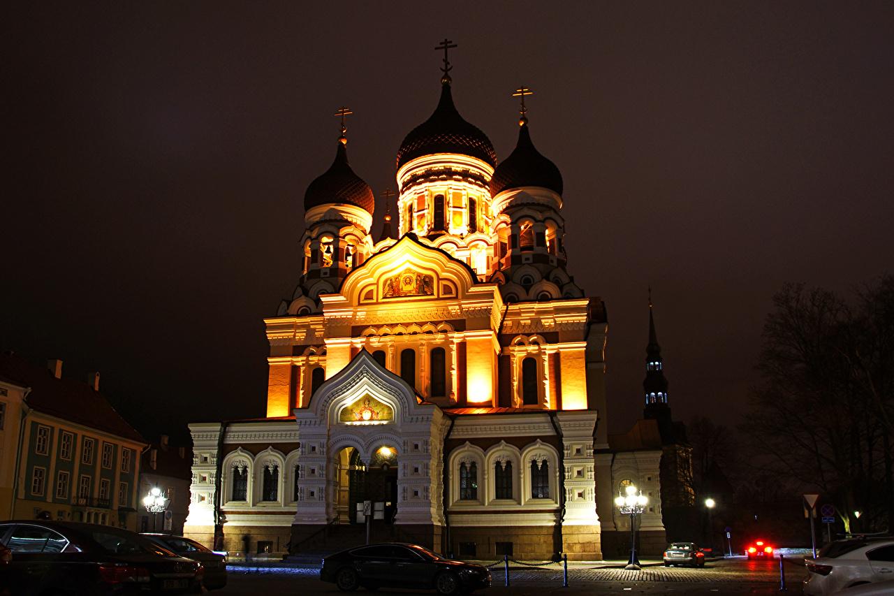 Photos Tallinn Estonia Alexander Nevsky Cathedral temple night time Street lights Cities Night Temples
