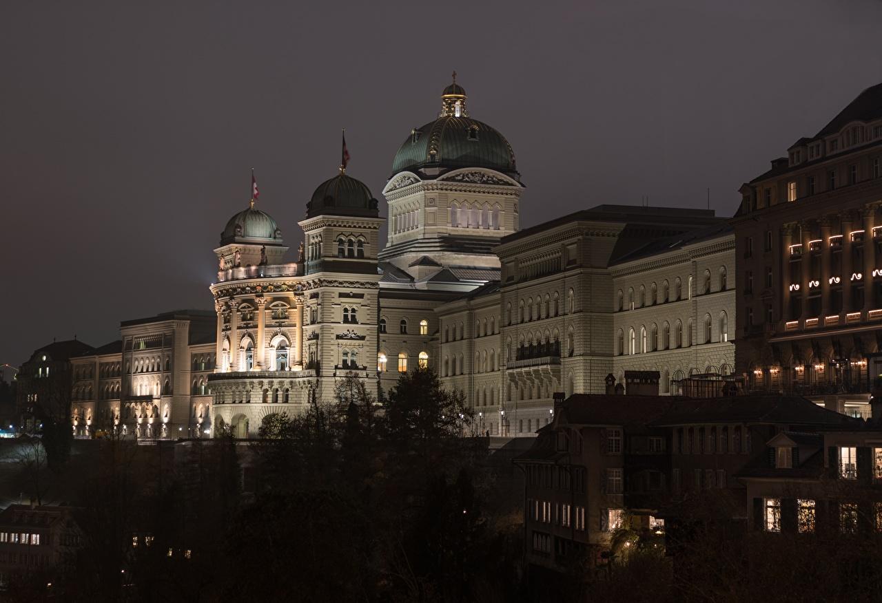 Immagini Berna Palazzo Svizzera Federal Palace notturna Città Notte Di notte