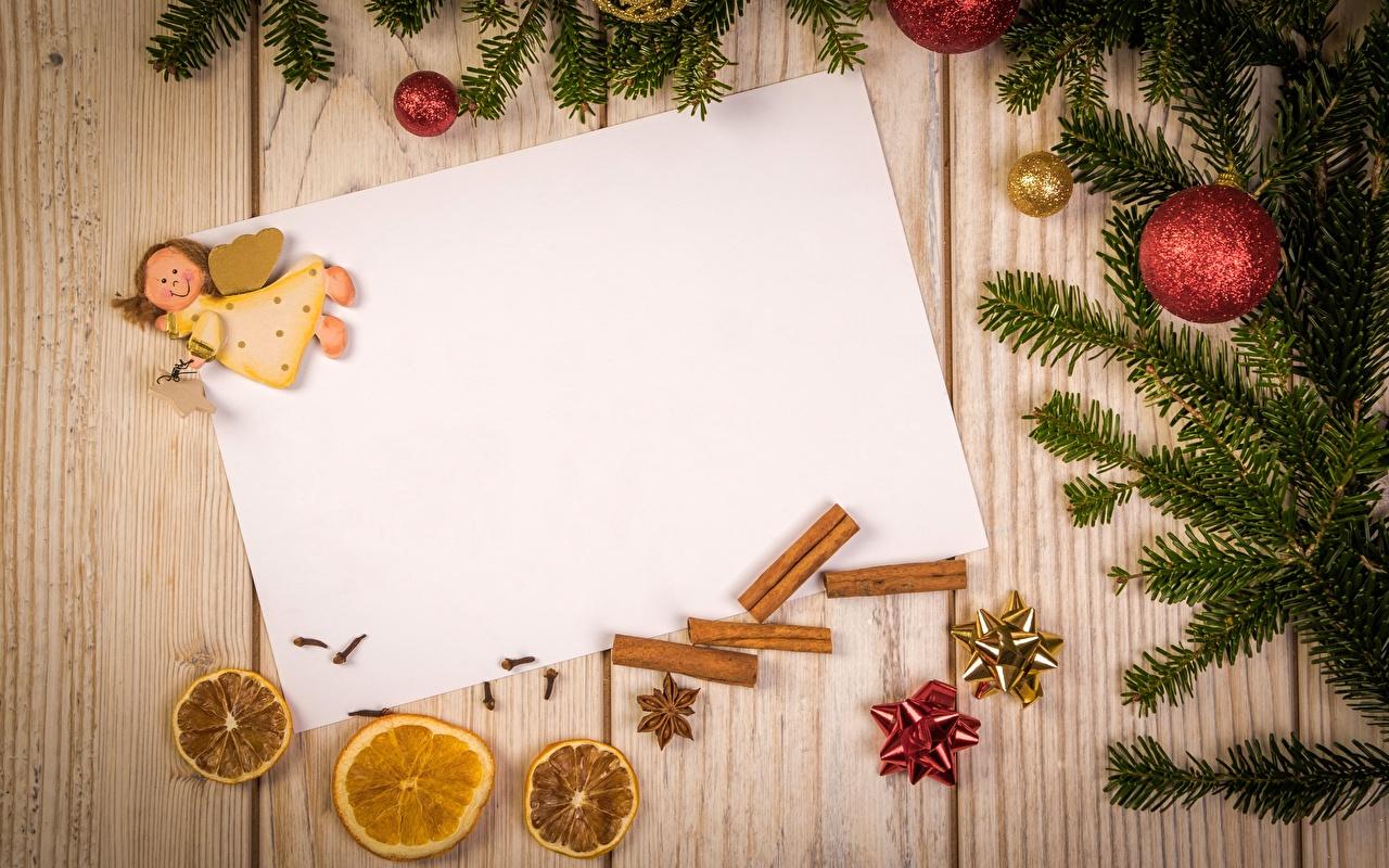 Fotos von Neujahr Blatt Papier Engeln Ast Kugeln Vorlage Grußkarte Bretter