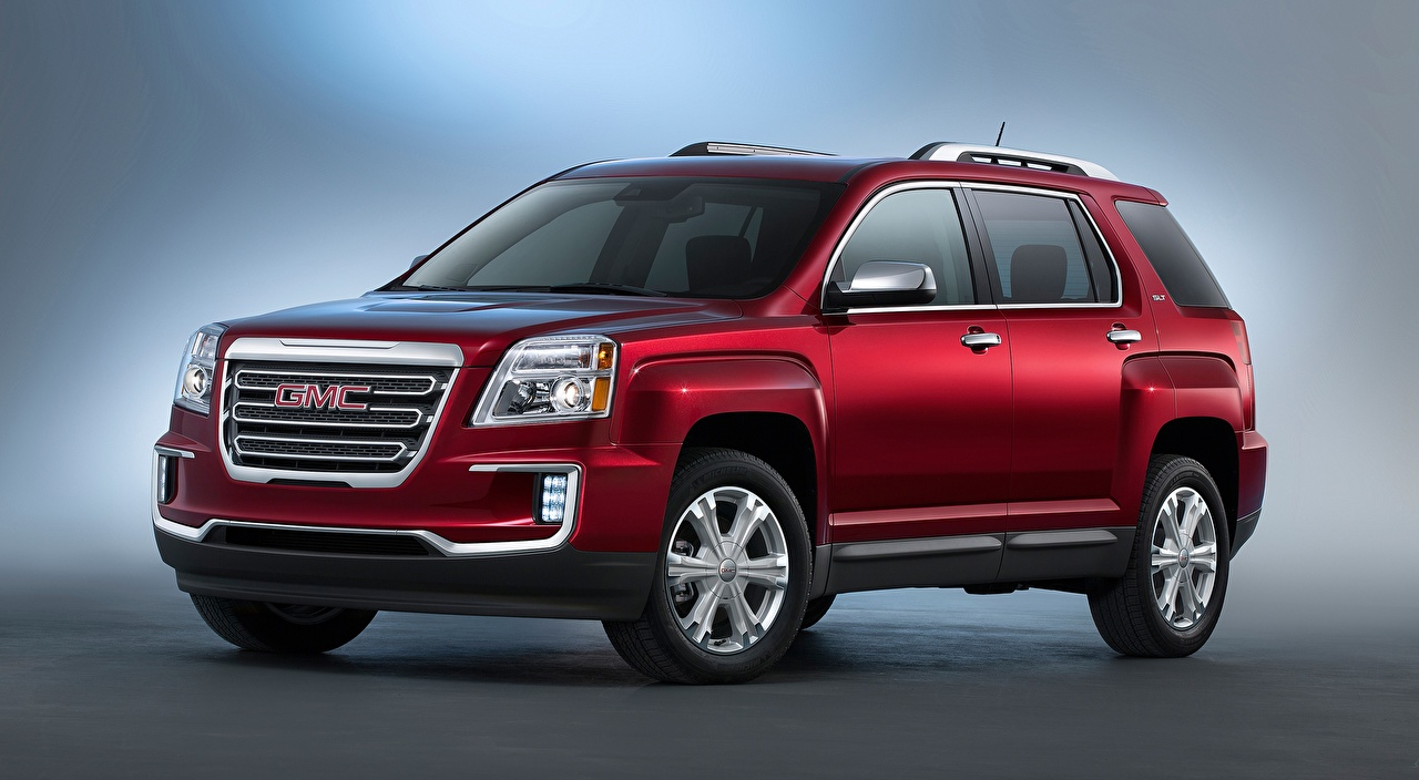 Desktop Wallpapers GMC CUV Terrain, SLT, 2015 Red Cars Gray background General Motors Company Crossover auto automobile