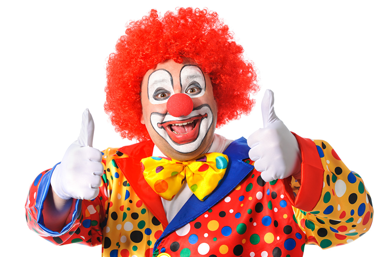 Wallpaper Man Smile clowns Fingers Uniform Bow tie White background Men Clown