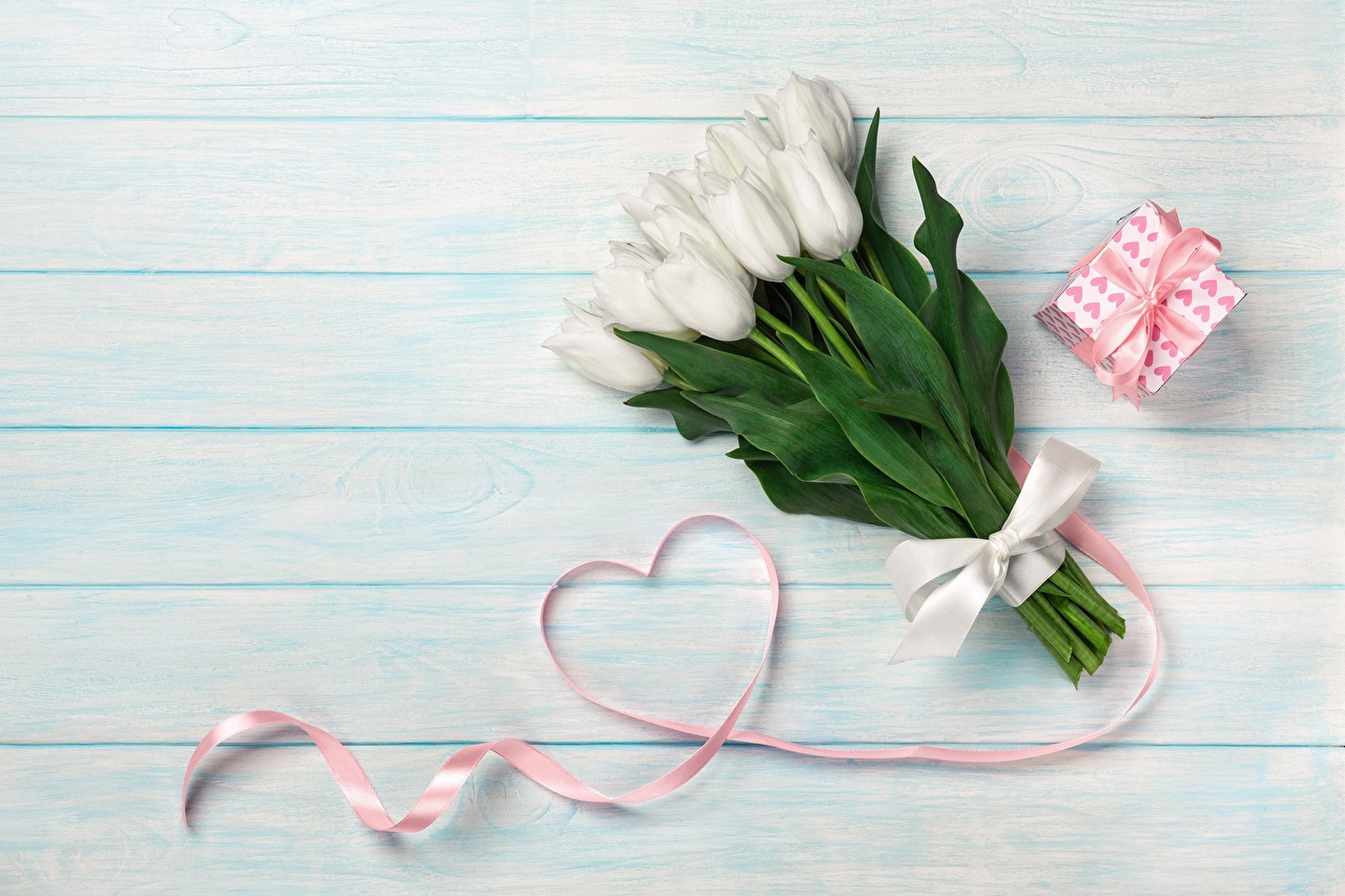 Pictures Valentine's Day Heart Tulips Gifts Flowers Wood planks tulip flower present boards