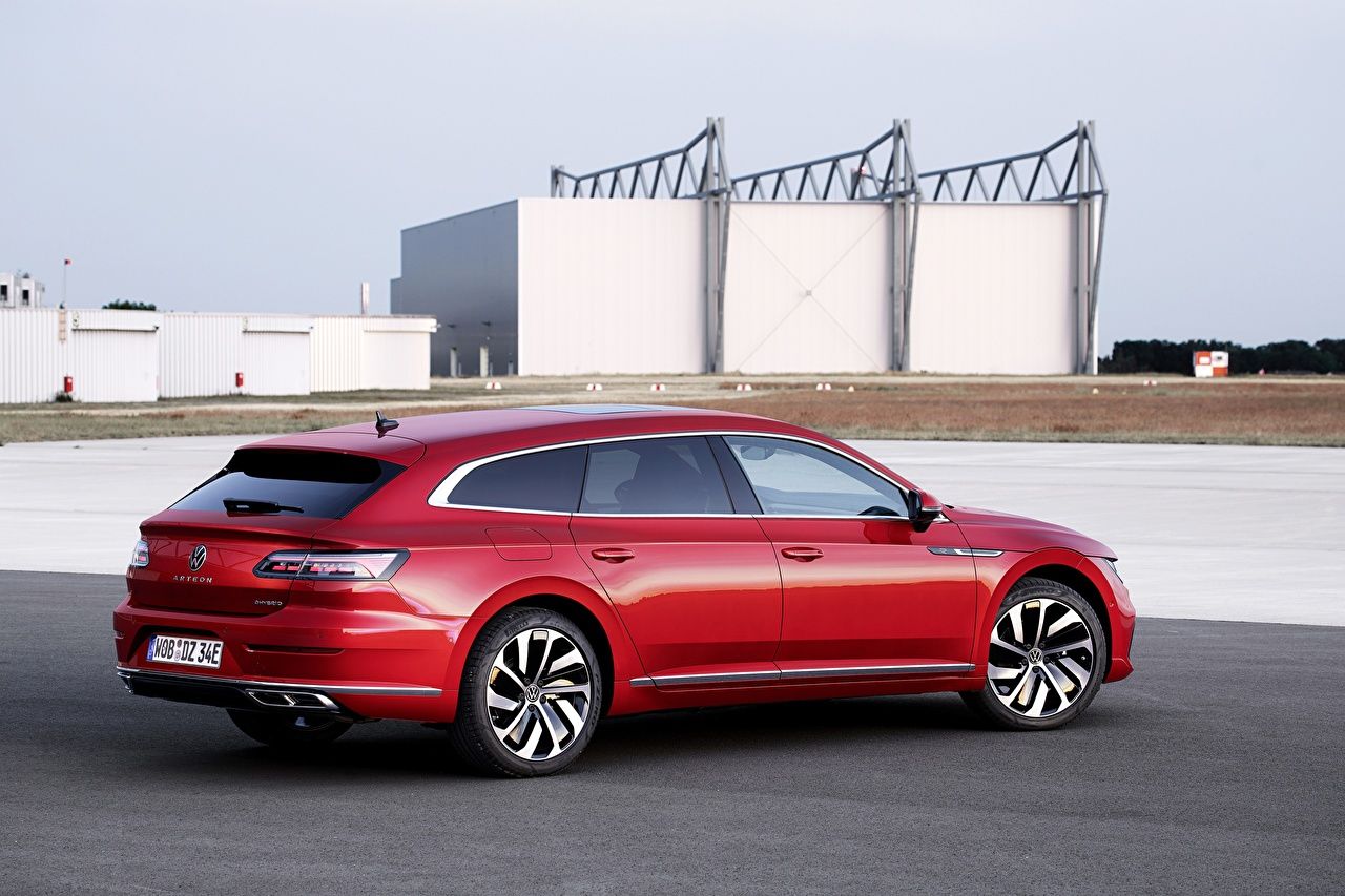 Image Volkswagen Station wagon Arteon, R-Line, Shooting Brake Red Cars Metallic Estate car auto automobile